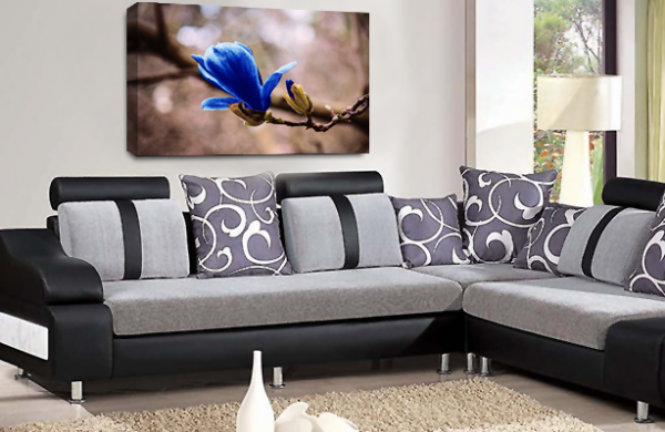 Floral Canvas Wall Art Picture Grey Blue Spring Flower Print